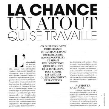 «La chance, un atout qui se travaille». All Positive interviewée dans Figaro Madame (Mai 2018)