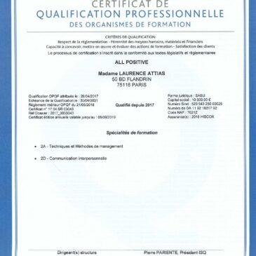 La qualification OPQF renouvelée pour 2019